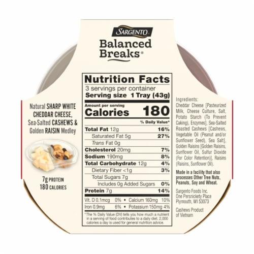 Sargento Balanced Breaks Sharp White Cheddar Cheese Cashews & Raisins Snack Packs Perspective: back