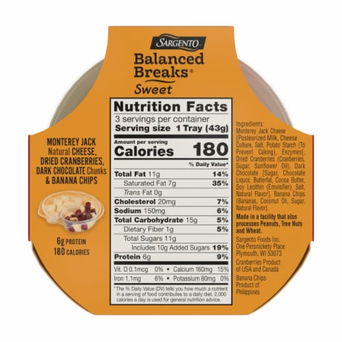 Sargento Balanced Breaks Monterey Jack Cranberries Dark Chocolate & Banana Chips Snack Pack Perspective: back