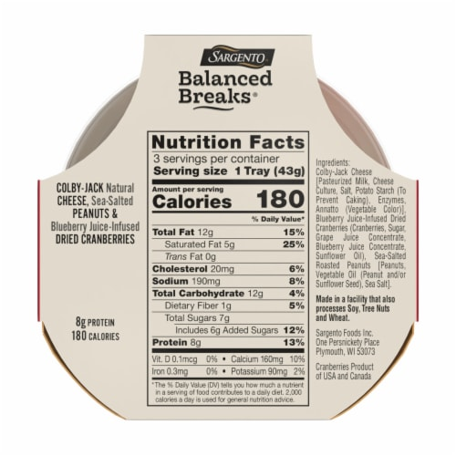 Sargento Balanced Breaks Colby Jack Cheese Peanuts & Dried Cranberries Snack Packs Perspective: back