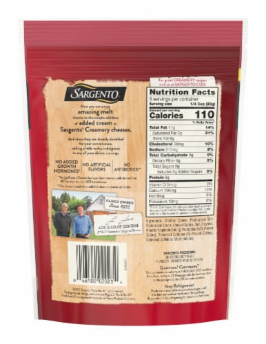 Sargento Creamery Shredded Cheddar Cheese Perspective: back