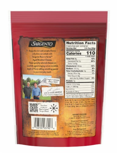 Sargento Reserve Series Shredded 18-Month Aged Cheddar Cheese Perspective: back