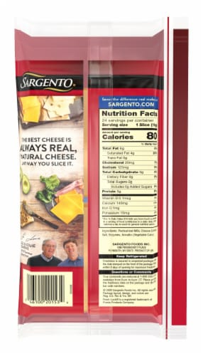 Sargento Natural Sharp Sliced Cheddar Cheese Perspective: back