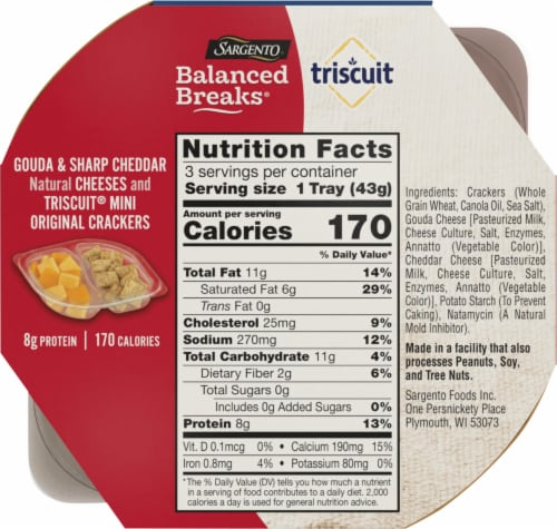 Sargento Balanced Breaks Gouda and Sharp Cheddar Cheese with Mini Triscuit Crackers Snack Packs Perspective: back