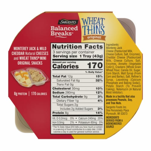 Sargento Balanced Breaks Monterey Jack and Mild Cheddar Cheese with Mini Wheat Thins Snack Packs Perspective: back