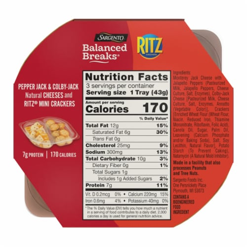 Sargento Balanced Breaks Pepper-Jack and Colby-Jack with Ritz Original Crackers Perspective: back