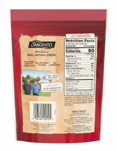 Sargento® Off the Block Mozzarella Shredded Cheese Perspective: back