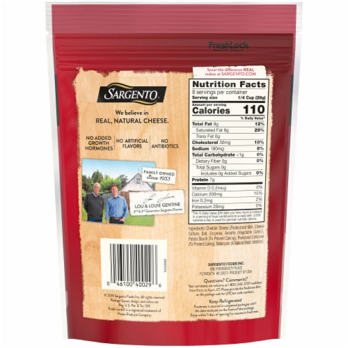 Sargento Off the Block Shredded Sharp Cheddar Cheese Perspective: back