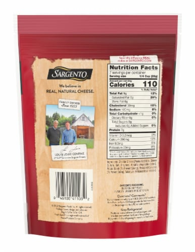 Sargento® Shredded Extra Sharp Cheddar Cheese Perspective: back