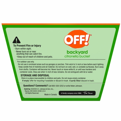 Off!® Tabletop Citronella Bucket Insect Repellent Perspective: back