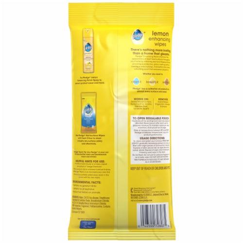 Pledge® Beautify It Lemon Enhancing Wipes Perspective: back