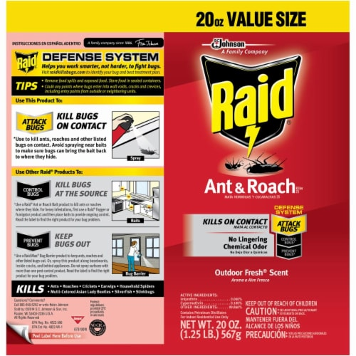 Raid® Ant & Roach Killer Outdoor Fresh Scent Insecticide Aerosol Can Perspective: back