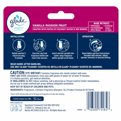 Glade PlugIns Vanilla Passion Fruit Scented Oil Refills Perspective: back