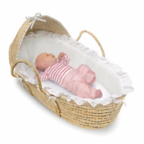 NATURAL Moses Basket with Hood and White Bedding Perspective: back