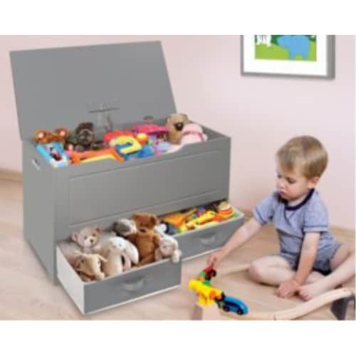 Up and Down Toy and Storage Box with Two Baskets - Gray Perspective: back
