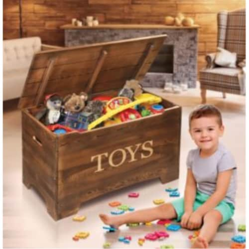 Solid Wood Rustic Toy Box - Caramel Brown Perspective: back