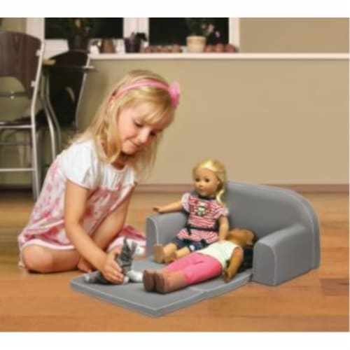 Upholstered Doll Sofa with Foldout Bed and Storage Pockets - Executive Gray Perspective: back