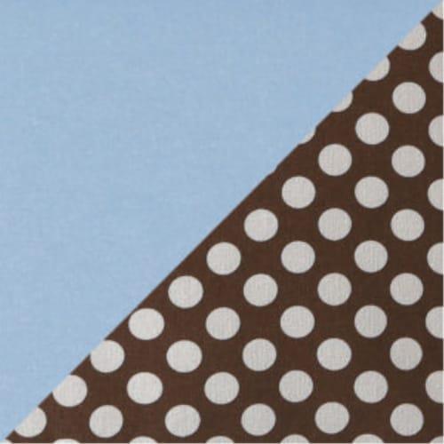 Folding Nursery Basket/Storage Cube-Brown Polka Dot w/Blue Trim Perspective: back