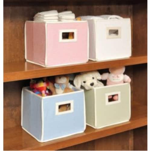 Folding Nursery Basket/Storage Cube - Sage Waffle Perspective: back