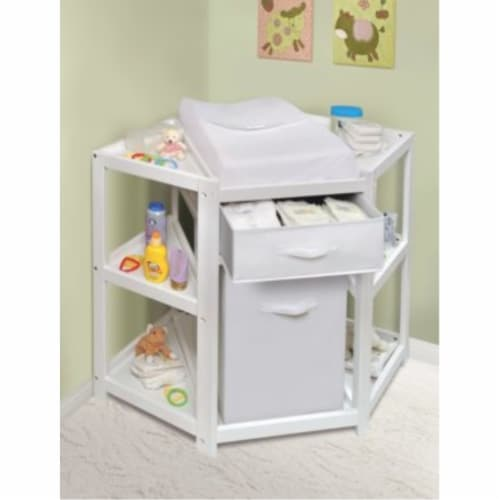 Diaper Corner Changing Table w/Hamper and Basket - White Perspective: back