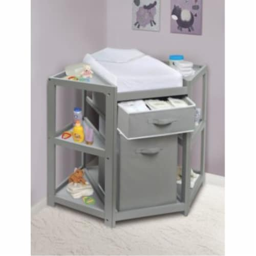Diaper Corner Baby Changing Table with Hamper and Basket - Gray Perspective: back