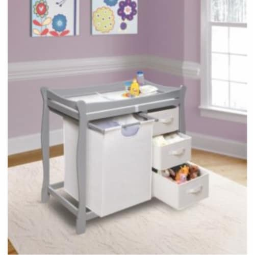 Sleigh Style Changing Table with Hamper/3 Baskets - Gray Perspective: back