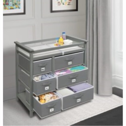 Modern Baby Changing Table with Six Baskets - Gray Perspective: back