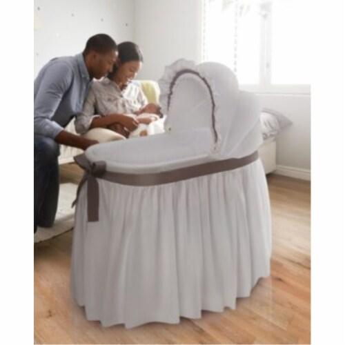 Wishes Oval Bassinet - Full Length Skirt - White/Gray Perspective: back