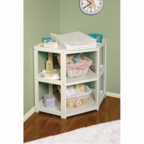 Diaper Corner Changing Table - White Perspective: back