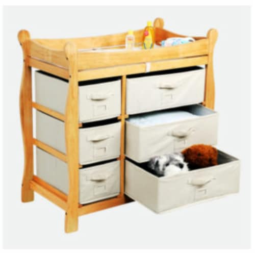 Sleigh Style Changing Table with Six Baskets - Natural Perspective: back