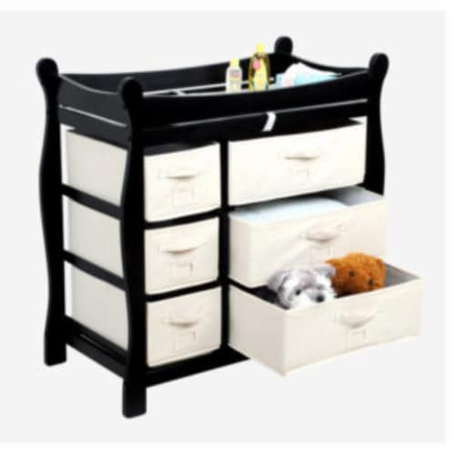 Sleigh Style Changing Table with Six Baskets - Black Perspective: back