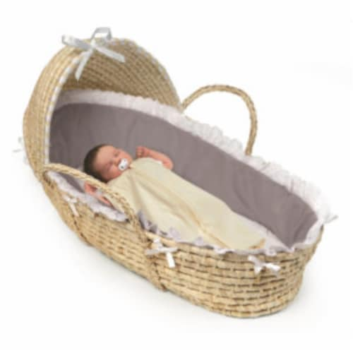 NATURAL Hooded Moses Basket - Gray Bedding Perspective: back