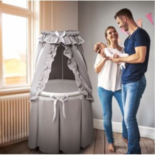 Empress Round Baby Bassinet with Canopy - Gray/White Perspective: back