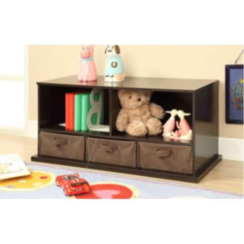 Shelf Storage Cubby w/Three Baskets - Espresso Perspective: back