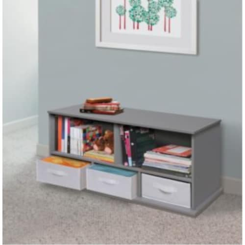 Shelf Storage Cubby with Three Baskets - Gray Perspective: back