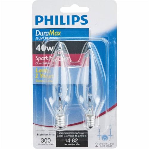 Philips DuraMax 40-Watt Candelabra Base B10.5 Blunt Tip Candle Light Bulbs Perspective: back