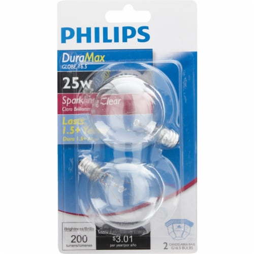 Philips 2pk 25w Clr Globe Bulb 168450 Perspective: back