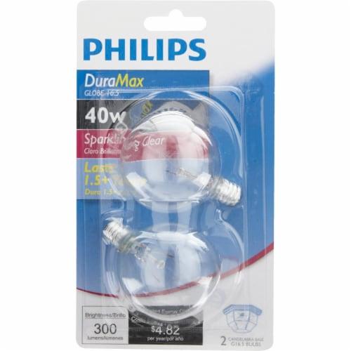 Philips DuraMax 40-Watt Candelabra Base G16.5 Globe Light Bulbs Perspective: back