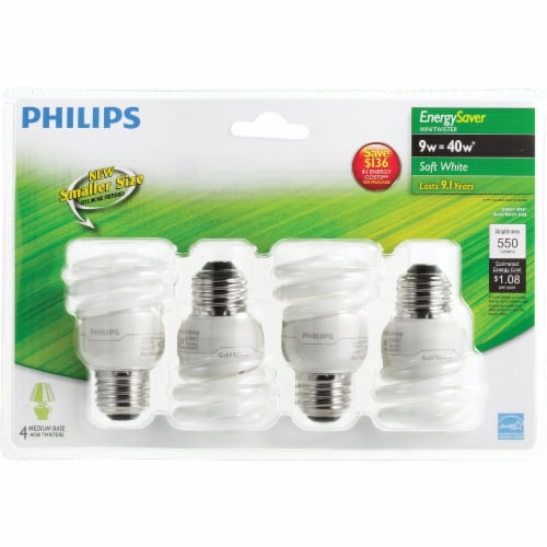 Philips 4pk 9w T2 Swmed Cfl Bulb 417063 Perspective: back