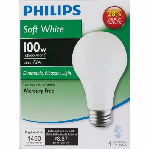 Philips EcoVantage 72-Watt (100-Watt) Medium Base A19 Light Bulbs Perspective: back