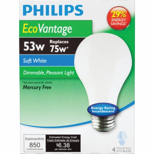 Philips 53-Watt (75-Watt) Medium Base A19 Light Bulbs Perspective: back