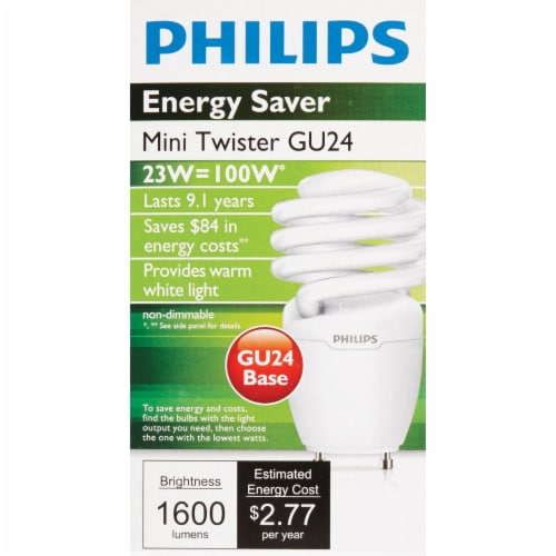 Philips Energy Saver 100W Equivalent Warm White GU24 Base Spiral CFL Light Bulb Perspective: back