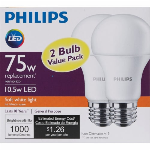 Philips 75W Equivalent Soft White A19 Medium LED Light Bulb (2-Pack) 462969 Perspective: back