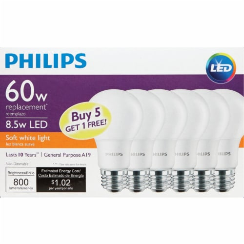 Philips 60W Equivalent Soft White A19 Medium LED Light Bulb (6-Pack) 469205 Perspective: back