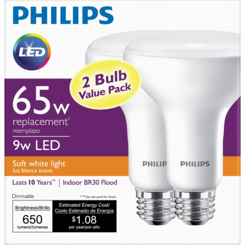 Philips 2pk 65w Br30 Sw Led Bulb 474098 Perspective: back