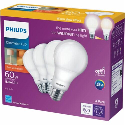 Philips Soft White 8.5-Watt (60-Watt) Dimmable A19 LED Light Bulbs Perspective: back