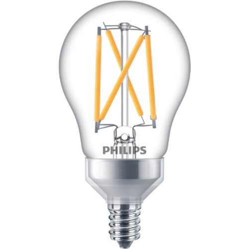 Philips 5.5-Watt (60-Watt) Candelabra Base Ceiling Fan A15 LED Light Bulbs Perspective: back