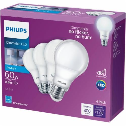 Philips 8.8-Watt (60-Watt) A19 LED Light Bulbs Perspective: back
