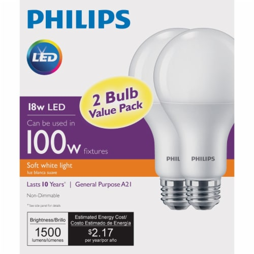 Philips 18-Watt (100-Watt) Medium Base A21 LED Light Bulbs Value Pack Perspective: back