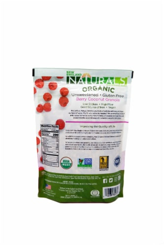 New England Naturals  Organic Gluten Free Unsweetened Granola   Berry Coconut Perspective: back