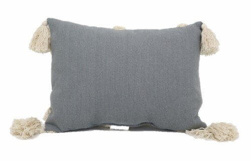 Brentwood Ribbed Duplex Decor Pillow with Tassels - Grey/White Perspective: back